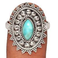 Genuine Larimar - Dominican Republic 925 Silver Ring Jewelry s.8.5 BR12751 XGB