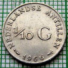 NETHERLANDS ANTILLES JULIANA 1966 1/10 GULDEN 10 CENTS, SILVER HIGH GRADE