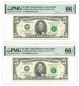 1995 $5 DALLAS FRNs, 2 CONSECUTIVE & PMG GEM UNCIRCULATED 66 EPQ BANKNOTES