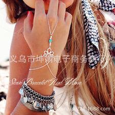 Bohemian Beach Retro Bracelet Finger Ring Bangle Slave Chain Women Jewelry YW