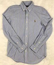 RALPH LAUREN Mens Slim Fit Knit Oxford Striped Long Sleeve Shirt Sz. S Small