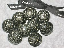 CHANEL 9 CC LOGO FRONT AUTH  QUILT BUTTONS GUN METAL SILVER 22 MM / 1'' LOT 9