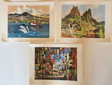 Lot of 3 Vintage Us Travel Scenes Painted by Millard Sheets United Air Lines