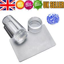 UK Clear Nail Art Stamping DIY Transfer Plate Manicure Tool Kit Stamper Scraper