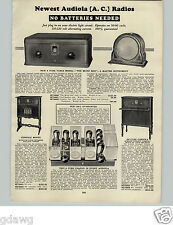 1928 PAPER AD Audiola AC Radio Deluxe Console 8 Tube Table Model The Music Box
