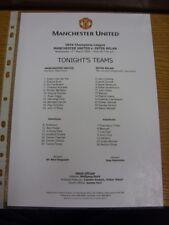11/03/2009 Colour Teamsheet: Manchester United v Inter Milan [Champions League]