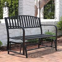 """Sunnydaze 2-Person Black Steel Metal Outdoor Patio Garden Glider Bench - 50"""""""