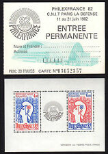 FRANCE FRANCIA 1982 Bloc Philex France 1982 + Billet MNH**