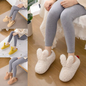 Cute Bunny Ear Slippers Furry Lined Clogs Winter  Shoes Warm Fur House Mules US