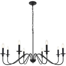 """CHANDELIER FIXTURE WROUGHT IRON COUNTRY COTTAGE DINING ROOM KITCHEN 8 LIGHT 42"""""""