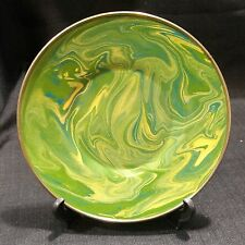"Mackenzie Childs Enamelware Green Marble Swirl 6"" Plate Retired"