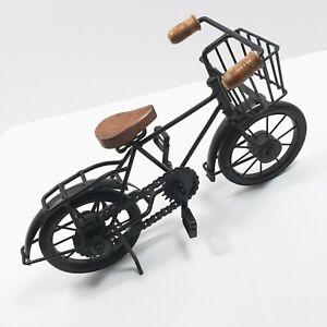 Black Metal Mini BICYCLE Shelf Art Sculpture Chain Pedals Kick Stand Wood Seat