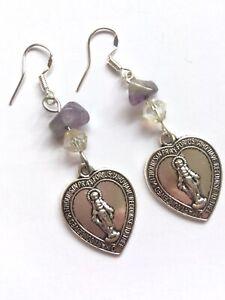 Virgin Mary Heart Earrings Miraculous Medal Silver Catholic Christian Amethyst