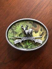 Deer Hunting Hunter Rifle Green Camo Camouflage Unisex Men's Belt Buckle