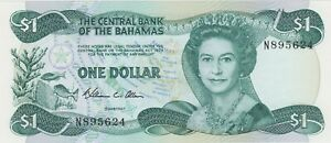 P43a BAHAMAS 1974 (1984) ONE DOLLAR BANKNOTE IN MINT CONDITION