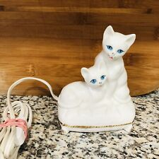 Vintage I W Rice Cat Lamp Kittens Blue Eyes Midcentury Light Figurine Japan