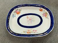 Antique Likely English Cobalt Gold & Hand Painted Flowers Dish / Plate