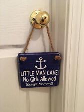 Little Man Cave Anchor Wooden Nautical Nursery Boy's Room Door Sign