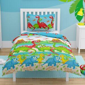 Dinosaurs Toddler Duvet Bedding Set Kids Cot Bed Cover Junior 150x120 cm COTTON