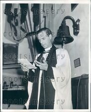1957 Rev W C Williams Records Sermons Vintage Mic For Dial a Sermon Press Photo