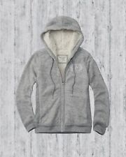 NWT Abercrombie & Fitch Womens Grey Sherpa Logo Full-Zip Hoodie Size Large