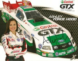 Ashley Force CASTROL MUSTANG GT 2009 FUNNY CAR NHRA 8x10 HERO CARD photo SIGNED