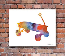 Radio Flyer Wagon Abstract Watercolor Painting Art Print by Artist DJ Rogers