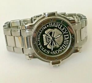 2009 Harley-Davidson® Bulova Mens Watch, Antique Medallion Skull Dial, 76A11