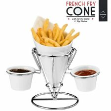 French Fry Cone with Stand and 2 Dip Dishes, White/ Chrome