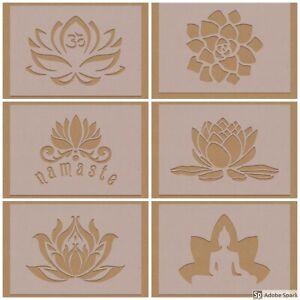 Lotus Flower Mandala Stencils Mixed Designs Ohm Om Namaste Spiritual Floral Yoga