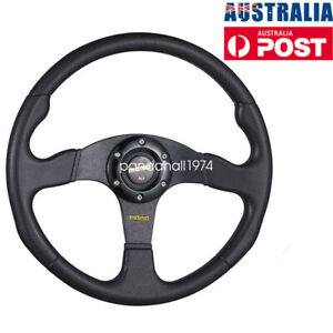 MO-MO Black Aluminum Racing Steering Wheel PVC Sports Drifting Wheel