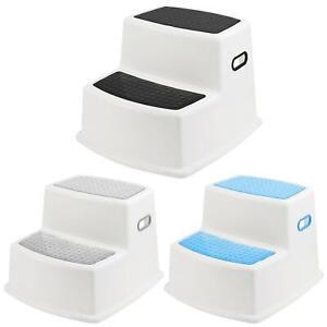 Dual Height Step Stool Non Slip Toilet Potty Training Kids Children Kitchen New