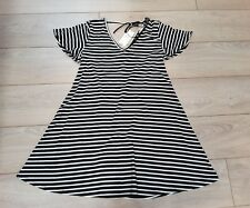 Papaya holiday matalan cream black white stripe swing teeshirt dress S 8 10 NEW