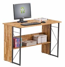 Rhodes Walnut Metal Computer Office Desk Industrial Style Workstation Shelving
