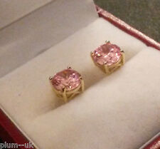Classic round pink sapphires 7mm yellow gold stud earrings GIFT BOXED Plum UK