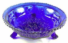Cobalt Blue Glass Butterfly & Blackberry Pattern Ball & Claw Footed Fruit Bowl