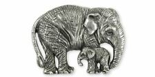 Asian Elephant And Baby Pendant Jewelry Sterling Silver Handmade Wildlife Pendan