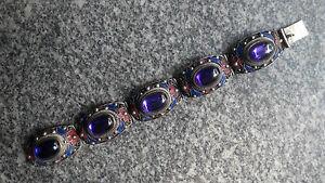 Collect noble tibet Handwork inlay 5 Purple Zircon Cloisonne Red Flower bracelet