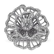 Flower CZ Cocktail Ring .925 Sterling Silver Rose Big Ring