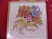 Cross Stitch Kit MCG Textiles Hot Plate Trivet Spring Bouquet Aida Cloth