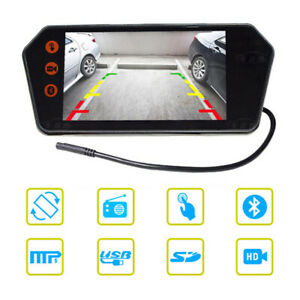 12V Car 7'' 1080P Mirror Touch Screen Rearview Monitor Video Player Bluetooth