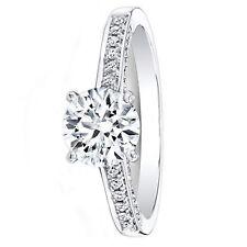 0.74 Ct Natural Diamond Engagement 14K Solid White Gold Moissanite Ring