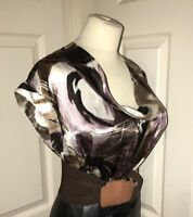 "100% Silk Shine Blouse Size 16 44"" Chest Secretary Mistress CD TV B177"