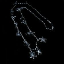 .925 Sterling Silver Turtle Sea Life Land Animal Charm Chain Necklace