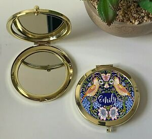 Personalised William Morris Blue Strawberry Thief Compact Mirror, Gold, Silver