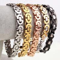 Stainless Steel Silver Gold Black Flat Byzantine Chain Mens Womens Bracelet Gift