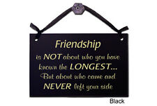 Wall Decor Gift Plaque, Friendship is not about who you have known the.. (Black)