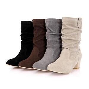Womens Mid Calf Boots Slouch Suede Vogue Down Block Heel Shoes Pull On All US Sz