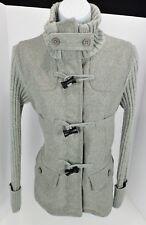 Small GAP Grey Wool Blend Toggle Coat Jacket Sweater Sleeves