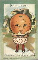 TUCK Garden Patch Valentine Fantasy Fruit Head Girl Curtis c1910 Postcard
